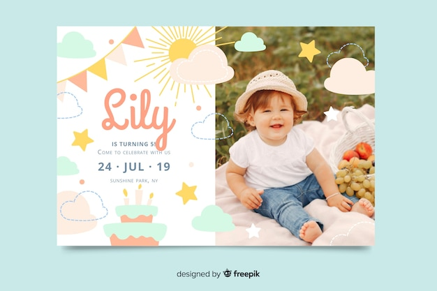 Geburtstags-einladungsschablone der kinder mit foto