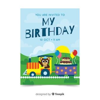 Geburtstags-einladungsschablone der kinder mit zug