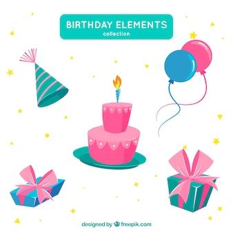 Geburtstags-elementsammlung in der flachen art