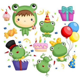 Geburtstags-frosch-vektorsatz