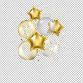 Geburtstags-goldene stern-ballone und konfettis