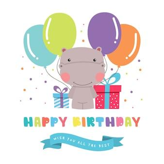 Geburtstags-gruß mit niedlichem hippopotamus
