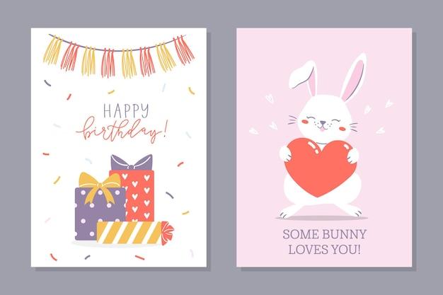 Geburtstags-häschen-set von gruß-geburtstagskarten zwei karten mit süßem häschen, das ein herz und geschenke hält