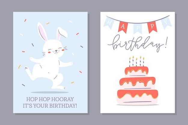 Geburtstags-häschen-set von grußkarten. zwei karten mit süßer häschenzeichnung und geburtstagstorte.