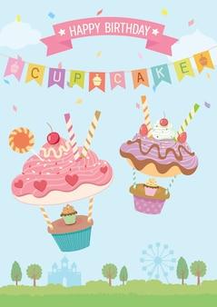 Geburtstags-karte der kleinen kuchen steigt im ballon auf