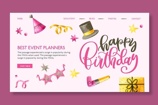 Geburtstags-landingpage-vorlage mit gezeichneten elementen