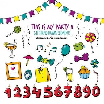 Geburtstags-party-hand gezeichnet set