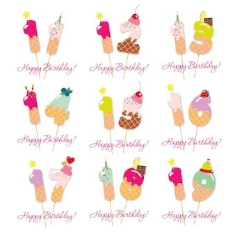 Geburtstags süße zahlen von 11 bis 19.