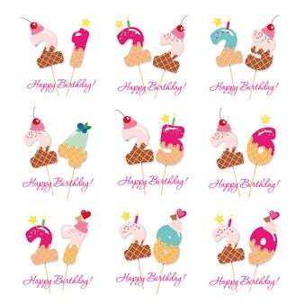 Geburtstags süße zahlen von 21 bis 29.
