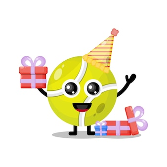 Geburtstags-tennisball niedliches charaktermaskottchen
