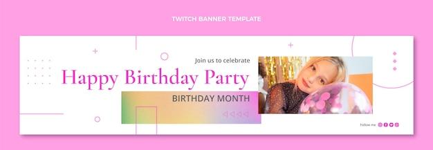 Geburtstags-twitch-banner mit verlaufstextur