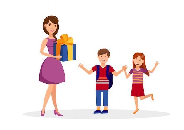 Geburtstags-überraschung, feier-flache illustration