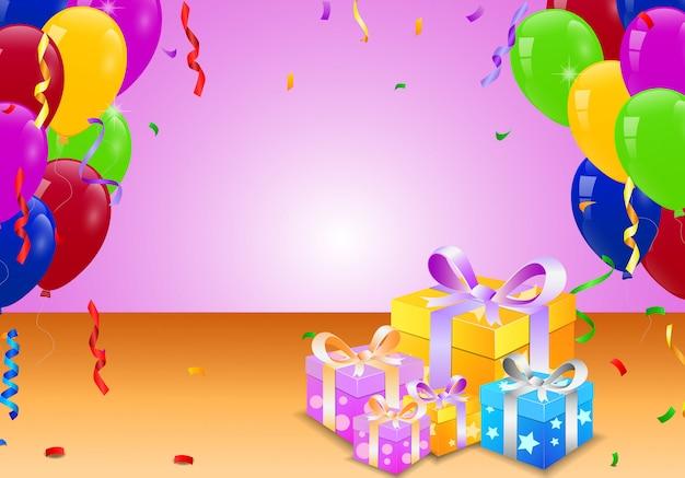 Geburtstagsballon und überraschungskasten
