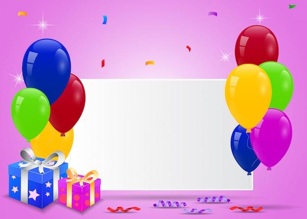 Geburtstagsballone mit leerem zeichen- und überraschungskasten