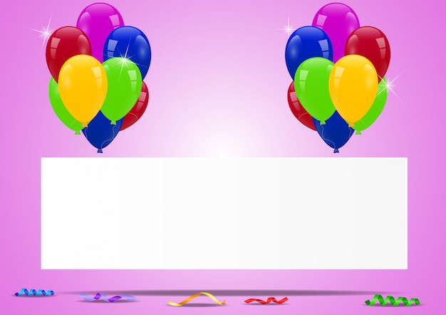 Geburtstagsballone mit leerem zeichen