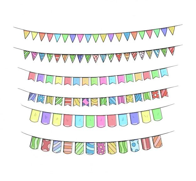 Geburtstagsband stellt die hand ein, die bunte illustration zeichnet