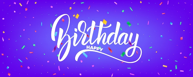Geburtstagsbanner-vektorentwurf. feiertagshintergrund mit bunten partikeln und geburtstagsbeschriftung