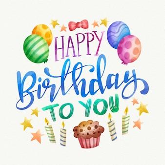 Geburtstagsbeschriftung mit luftballons und kerzen