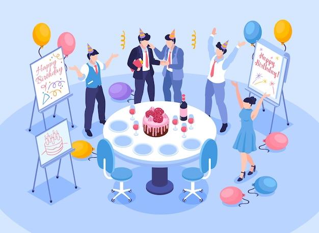 Geburtstagsbüro-glückwunschkonzept mit feier bei der isometrischen illustration der arbeitssymbole