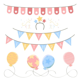 Geburtstagsdekoration in pastellfarben