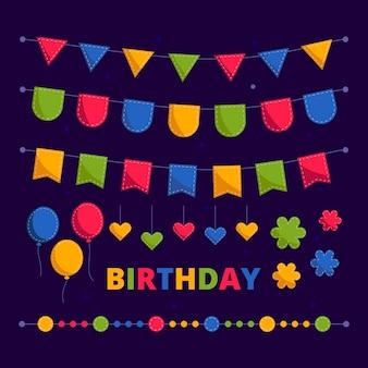 Geburtstagsdekoration mit luftballons und girlanden