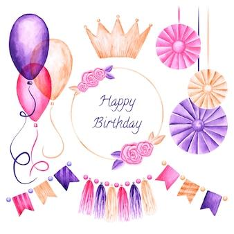 Geburtstagsdekoration mit luftballons und gruß
