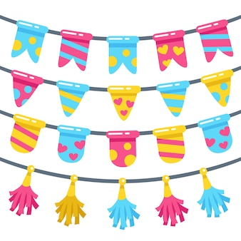 Geburtstagsdekoration mit verschiedenen girlanden