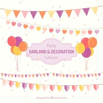 Geburtstagsdekoration von girlanden und luftballons