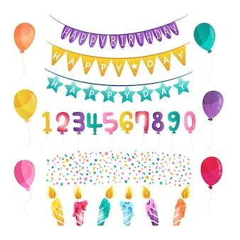 Geburtstagsdekorationen und luftballons