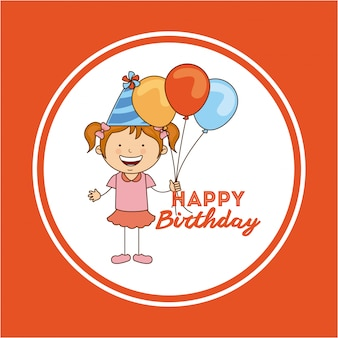 Geburtstagsdesign über orange hintergrundvektorillustration