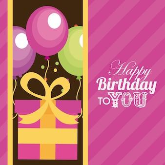 Geburtstagsdesign über rosa hintergrundvektorillustration
