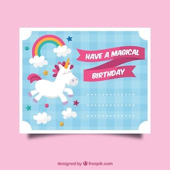 Geburtstagseinladung mit einem einhorn, wolken und sternen