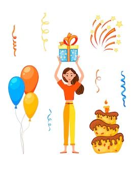 Geburtstagseinladung mit einem mädchen und der aufschrift