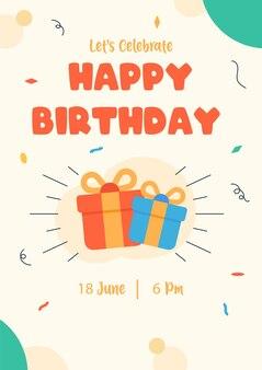 Geburtstagseinladung mit geschenken auf einem flachen vektor der karte