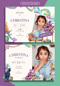 Geburtstagseinladungskartenschablone mit hexereithemaaquarellillustration