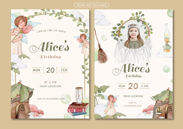 Geburtstagseinladungskartenschablone mit märchenthemaaquarellillustration