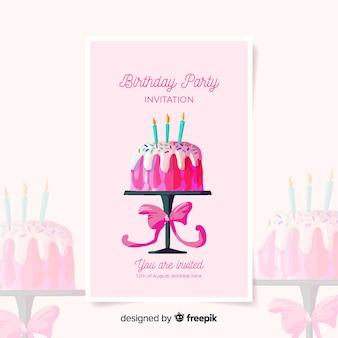 Geburtstagseinladungsschablone in der aquarellart