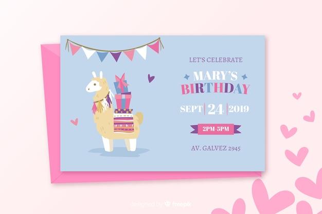 Geburtstagseinladungsschablone in der flachen art