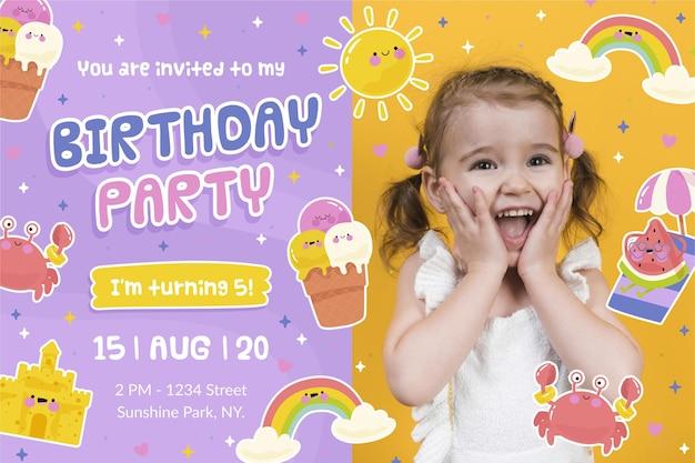 Geburtstagseinladungsschablonenkonzept
