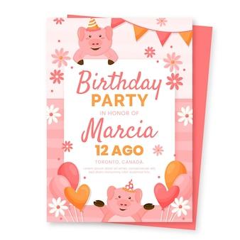 Geburtstagseinladungsvorlage für flache tiere