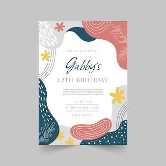 Geburtstagseinladungsvorlage im abstrakten stil