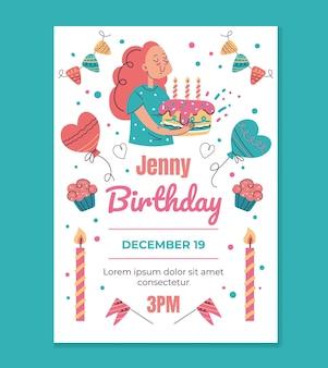 Geburtstagseinladungsvorlage mockup typografie design für den druck