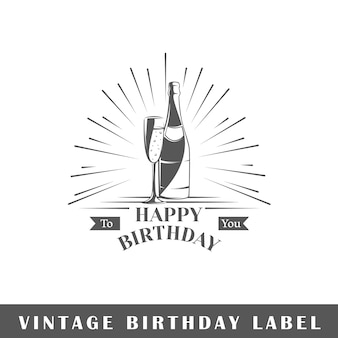 Geburtstagsetikett auf weißem hintergrund. element. vorlage für logo, beschilderung, branding. illustration