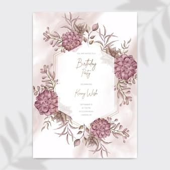 Geburtstagsfeier-einladungsplakatschablone mit saftigem blumenrahmen des aquarells