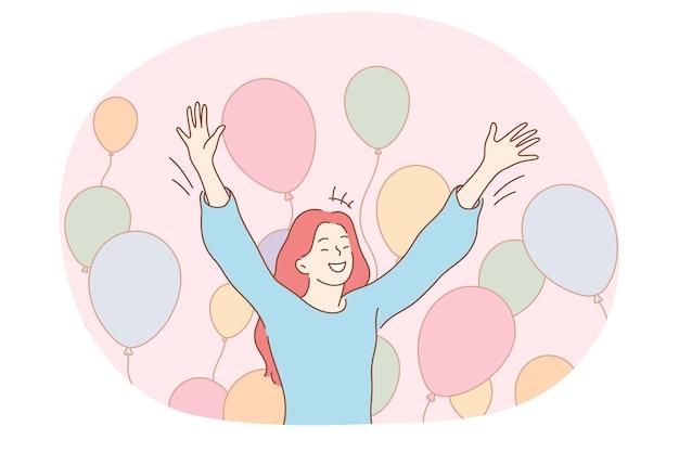 Geburtstagsfeier, feiertag, partykonzept. junge glückliche frau, die während des urlaubs aufgeregt fühlt