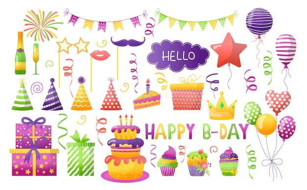 Geburtstagsfeier-illustrationssatz, karikaturelement für spaß glücklichen jubiläumstag feiern, geschenkdekorationsikonen lokalisiert auf weiß