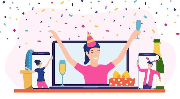 Geburtstagsfeier im internet,