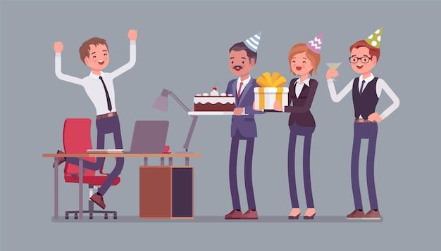 Geburtstagsfeier in der büroillustration
