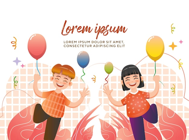 Geburtstagsfeier-konzept mit kindern, die charakter-illustrations-premium-vektor feiern