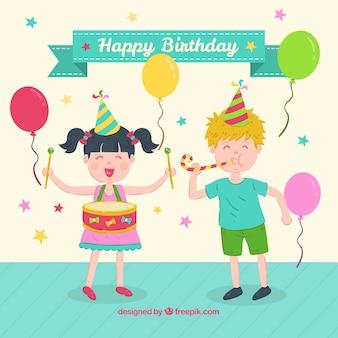 Geburtstagsfeier mit flachem design